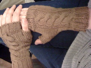Cabled Fingerless Mitts #1