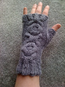 Cabled Fingerless Mitts #2