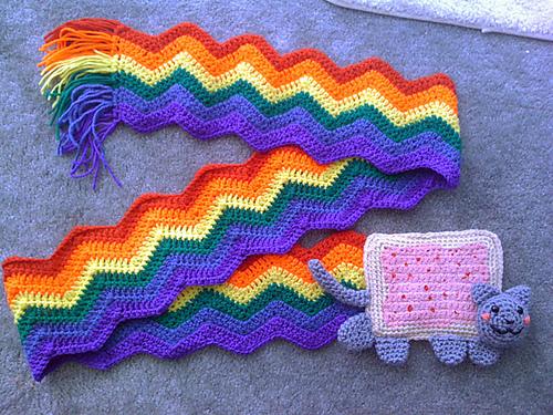 Ravelry: Nyan cat bookmark pattern by Justyna Kacprzak | 375x500