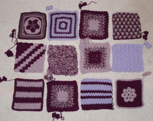 A typical Knit-A-Square donation from Julia